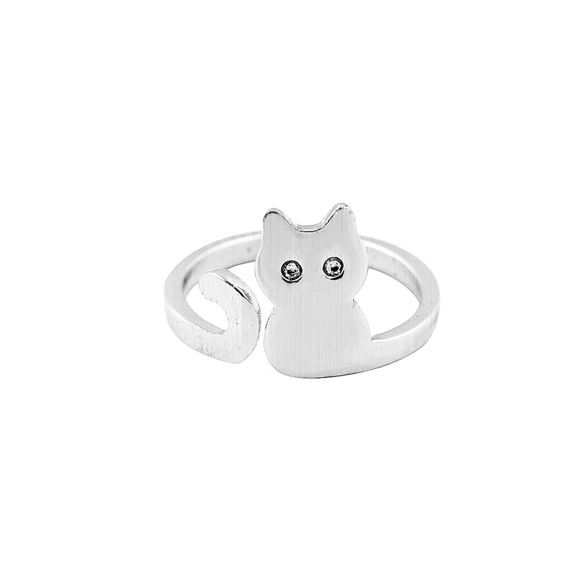 30PCS -R140 New 2016 Brushed Silver Cat Ring Adjustable Cute Animal Rings for Women Love Ring Party Jewelry(China (Mainland))