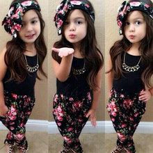 Lovely Summer Kids Girls Headband Floral T Shirt Vest Colorful Pants Outfits