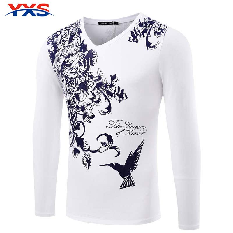 YXS 2016 Summer New Men'S Long-Sleeved T-Shirt V 3D Printed SKull T Brand Men'S Casual T-Shirts Wholesale CX09(China (Mainland))