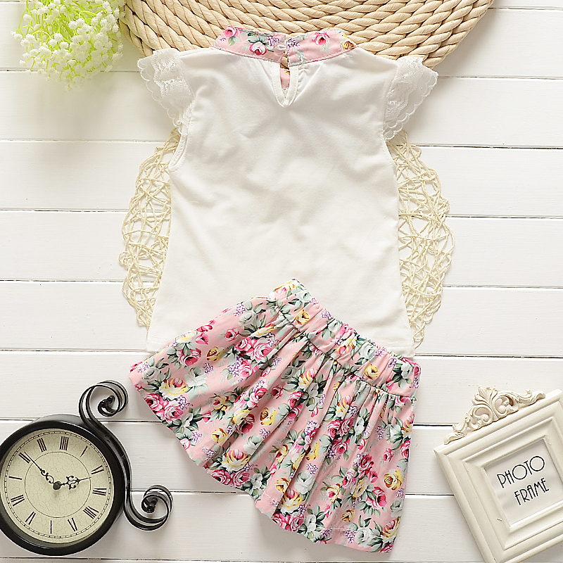 Summer Floral Paragraph Girls T shirt Floral Skirt Sets 0 4Years Cotton Necklace Baby Sets