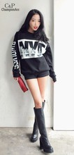 2015 Stylish Loose Sweater Ladies Women Casual Letters Printed Blouse Long Sleeve Sports-tops Free Shipping #k(China (Mainland))