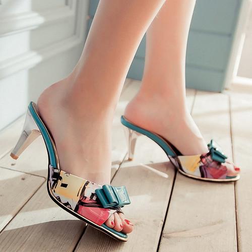Большой размер 9 мода женская сандалии летом заглянуть ног тапочки тонкие высокие ...