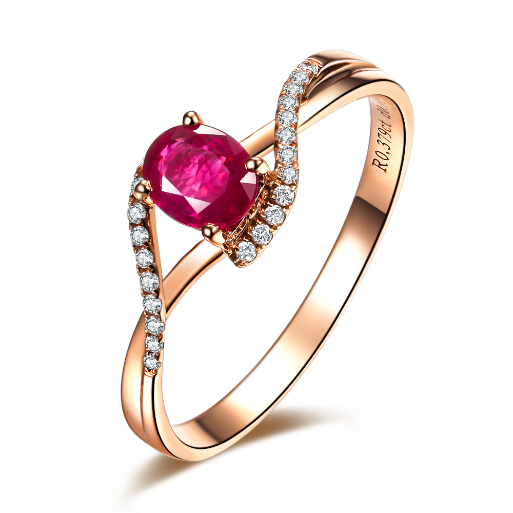 0.5ct VBORI 18K Gold Natural Ruby Gemstone Ring For Women ...