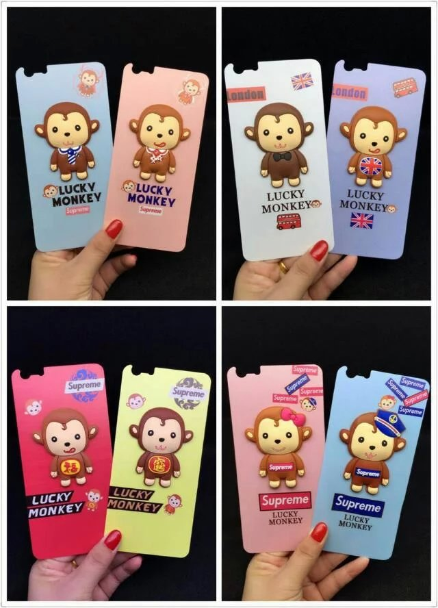 For Apple iPhone 6 iPhone 6s 3D Cartoon Monkey Tempered Glass Film Front+Back Screen Protector Anti Scratch Guard Anti Dust(China (Mainland))