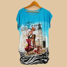 Hot Sale thin plus size loose batwing sleeve women's short-sleeve T-shirt 3d shoe print tee womens t shirts dropship  WY103(China (Mainland))