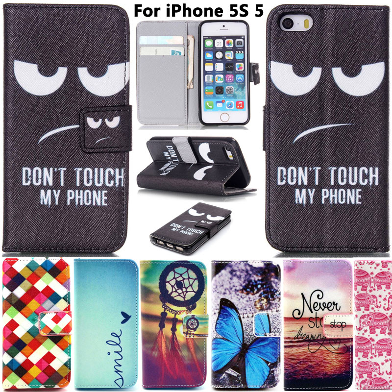 Fashion Cartoon Book Style Leather Flip Phone Case Cover For Apple iPhone SE 5S 5 5se