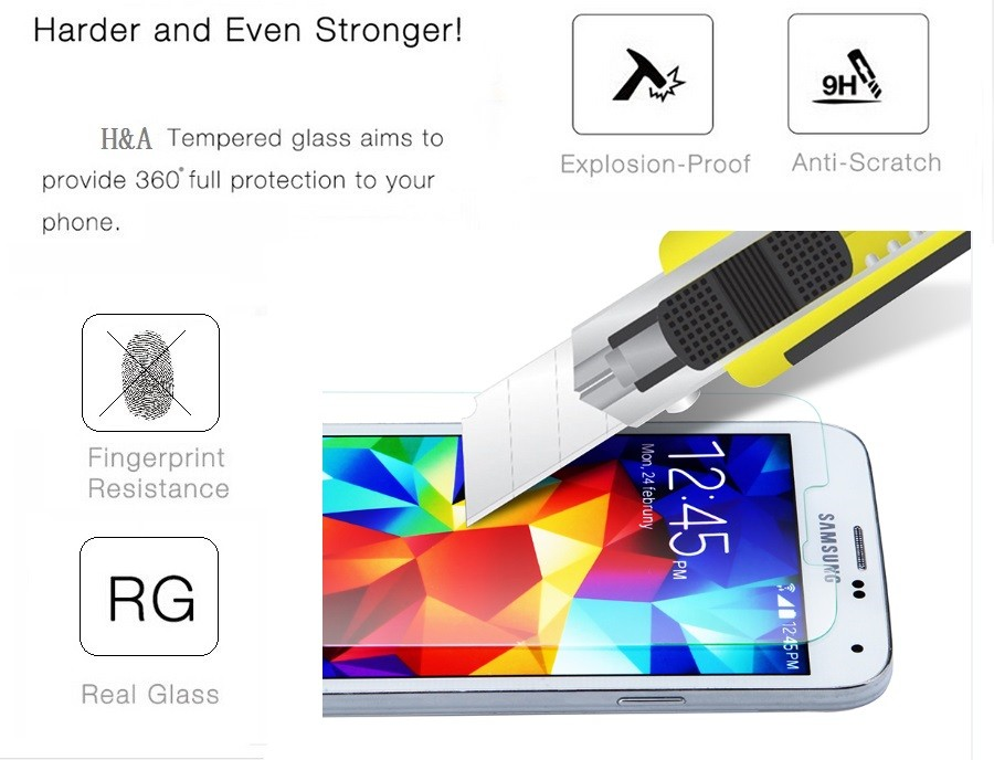 0.28mm Premium Tempered Glass for Samsung Galaxy J3 J1 J5 J7 J2 9H Arc Edge Screen Protector with Clean Tools