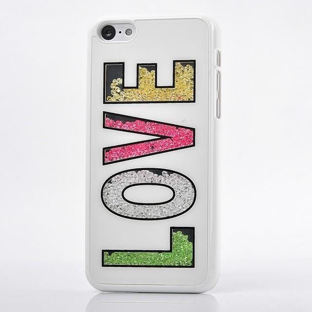 For iphone 5C Case Stylish Luxury Glitter Crystal Lovers Case For iPhone 5C handmade Beads case(China (Mainland))