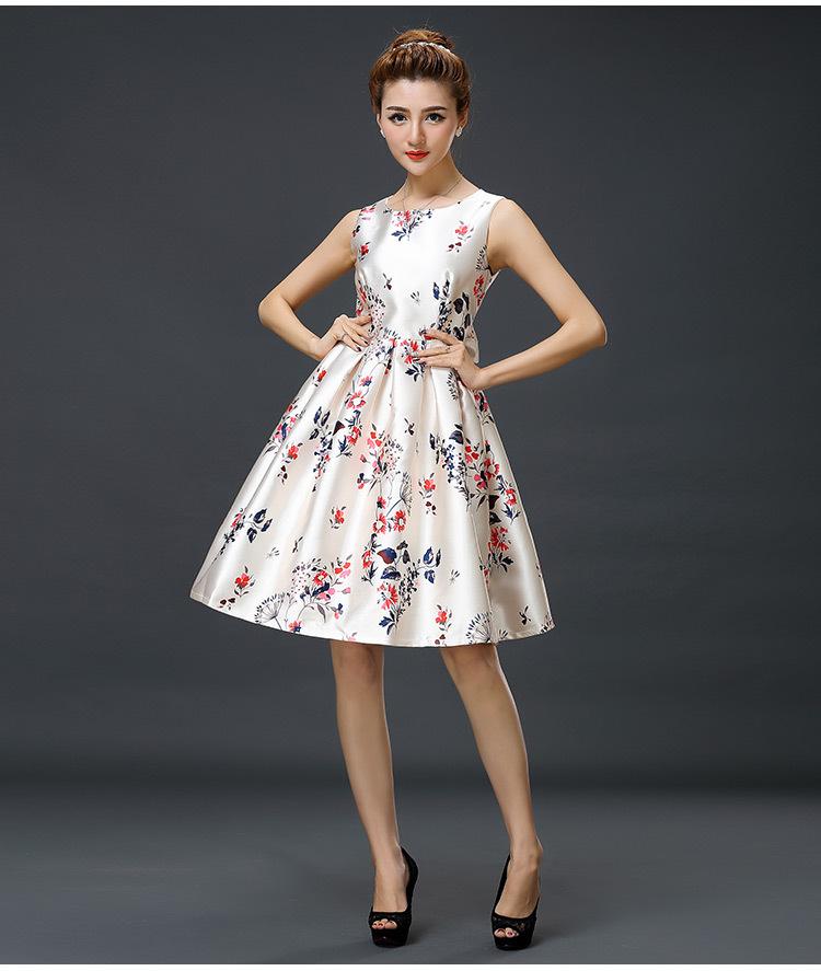 2015 New Spring Summer Women 39 S Clothing Fashion Sleeveless Dress Print Bow Belt Skirt Celebrity