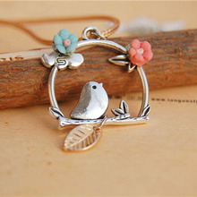 Handmade ceramic flower rope chain tree branches bird long necklaces & pendants 2015 vintage jewelry accessories colares(China (Mainland))