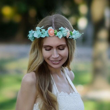 1 PC Bohemian Wreath Flower Crown Tiara Bridal Headdress Wedding Garland Forehead HeadBand Hair Accessories For Women Lady Girl