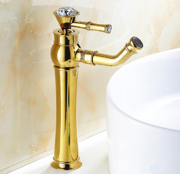 Modern gold faucet bathroom cold and hot water faucets for Gold bathroom sink taps