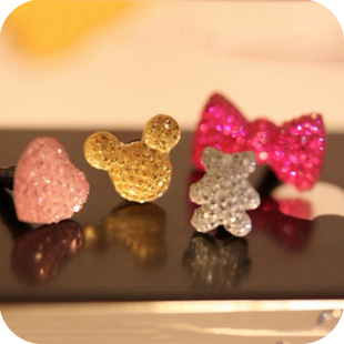 20pcs/lot wholesale candy color acrylic Crystal diamond dust plug star bow heart mickey headphone jack for iphone6 6s Samsung(China (Mainland))