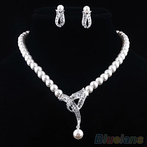 Faux Pearl Crystal Choker Women Necklace Earrings Jewelry Set Wedding Party 0CMI - Edyo store