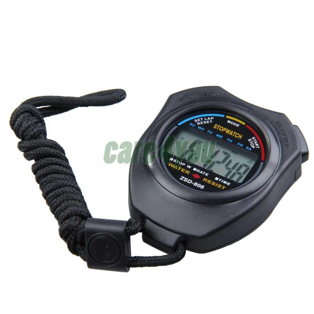 New Sports Stopwatch Professional Handheld Digital LCD Sports Stopwatch Chronograph Counter Timer with Strap E CH