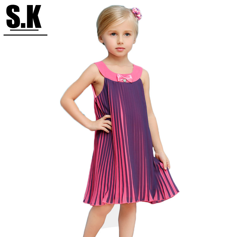 S.K High-end Clothing Color Gradient Personality Girls Dress 2016 Kids Clothes Summer Ruffles Dresses for Girls(China (Mainland))