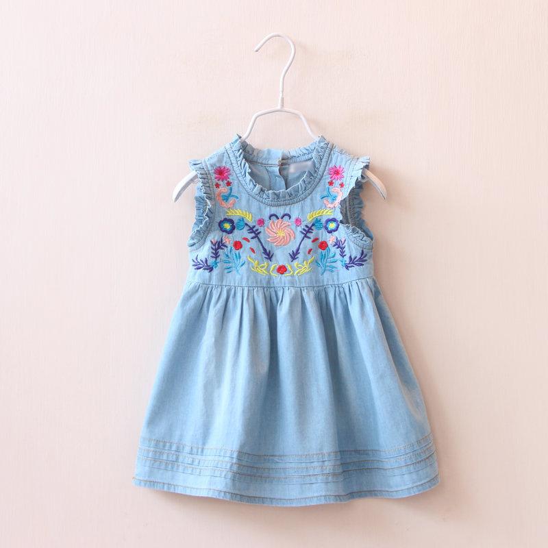 Denim dress summer classical sleeveless kids girl