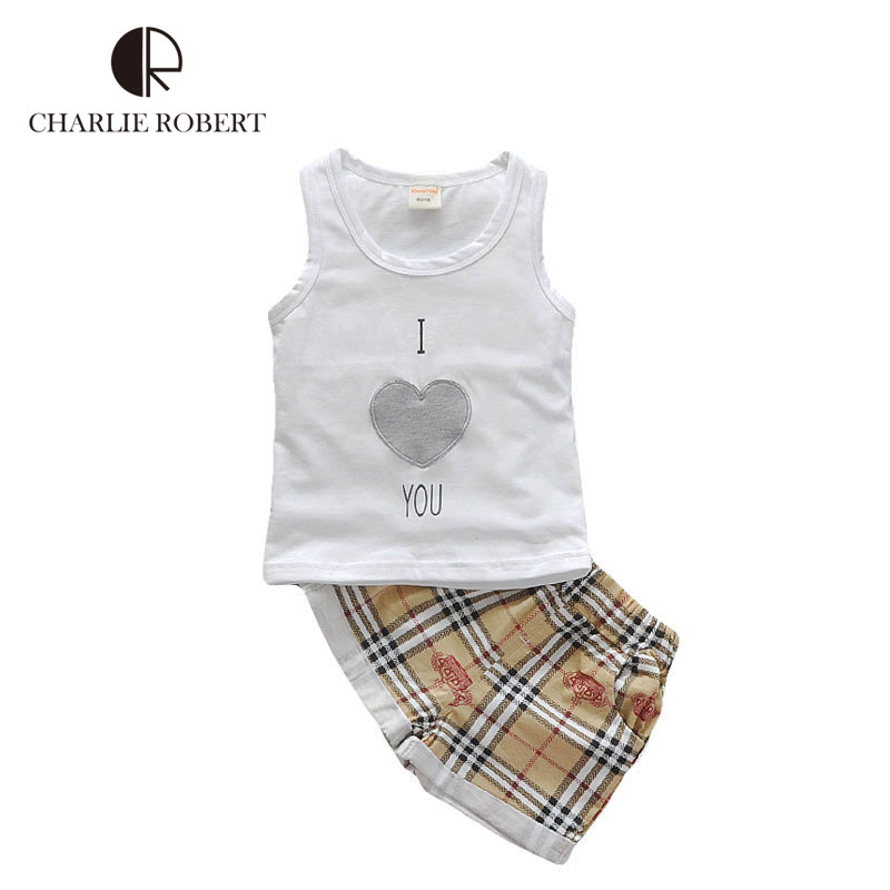 New Baby Boys Sleeveless Clothing Set Summer Heart Print T-shirt And Pants Infant Toddler Kids Clothes Suit 2Pcs(China (Mainland))