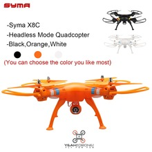 Headless Mode Quad Copter Syma X8C Venture Drone with Camera 4CH 6 Axis RC Drone Helicopter UAV RC Toys Orange