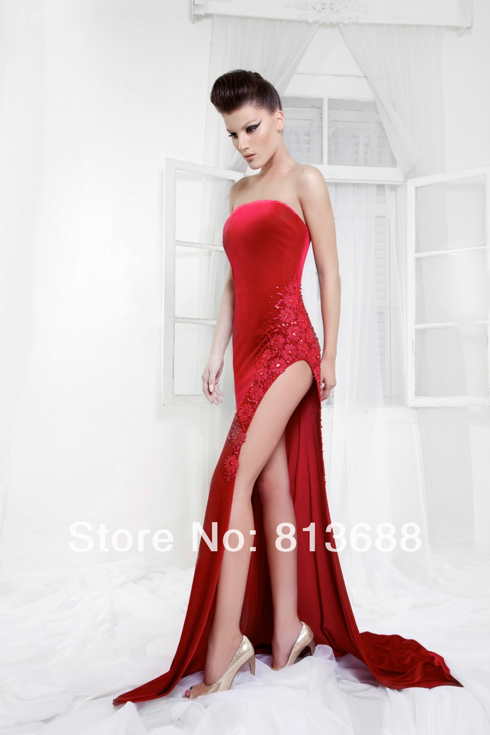 Charming Designer New Strapless Red Sheath Formal Evening Dresses Gown High Split Velvet Sweep Train Prom Pageant Gowns(China (Mainland))