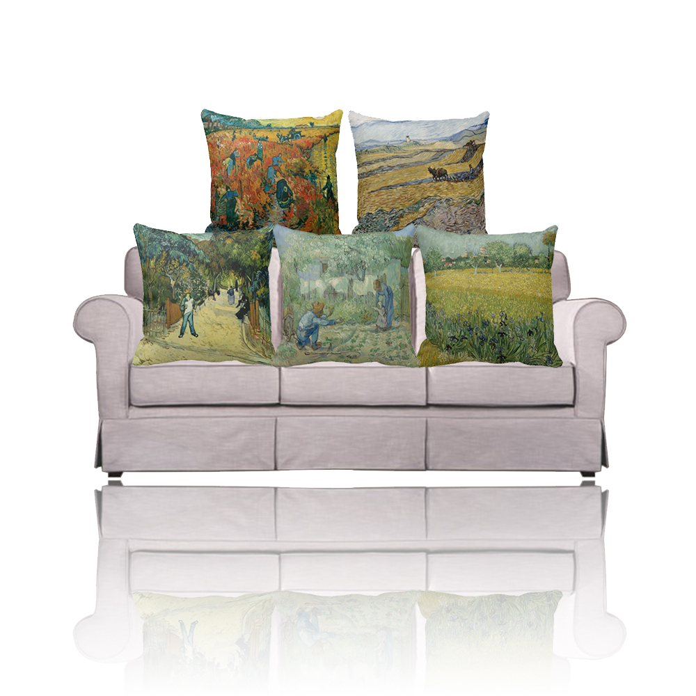 new euro modern art home decor der rote weinberg painting throw pillow covers linen sofa cushion. Black Bedroom Furniture Sets. Home Design Ideas
