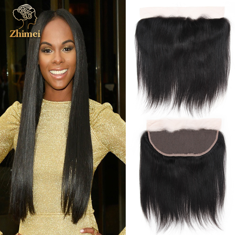 Top 8a Unprocessed Brazilian Full Frontal Lace Closure 13x4 Straight Human Hair Free Part Frontal Closure Natural Black<br><br>Aliexpress