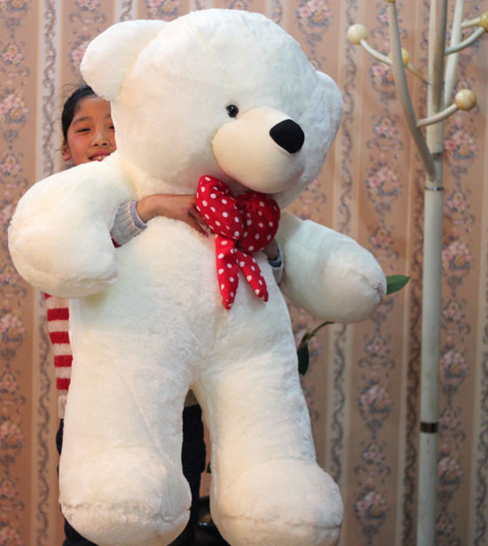 huge lovely plush teddy bear toy big stuffed white teddy bear with red bow gift about 120cm(China (Mainland))