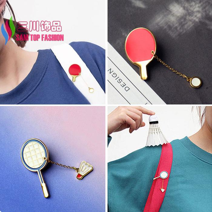 2016 new arrival gift jewelry Fashion Designer lovely mini Enamel badminton/ table tennis Racket brooch pin for Women(China (Mainland))