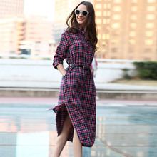 Veri Gude Long Plaid Shirt Dress Long Sleeve Women Cotton Long Shirtdress for Autumn(China (Mainland))