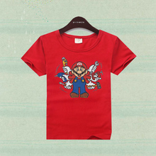 Boy clothes cotton cute cartoon t-shirt super mario brother short sleeve children shirts boys clothing girls t-shirt kids tees