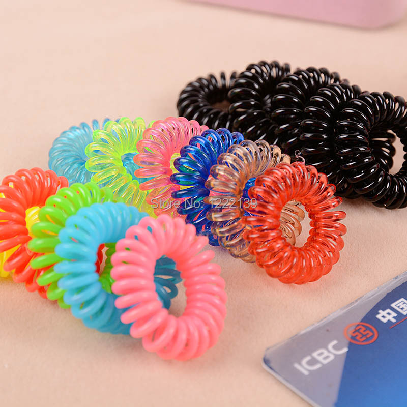Colorful 2.5CM small size telephone wire hairbands hair tie or braclet/bangle-party for girls(China (Mainland))