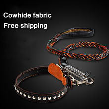 petcircle High Quality Genuine Leather Large Dog Leashes Pet Traction Rope Collar Set For Big Dog 2 color size M-XL freeshipping(China (Mainland))