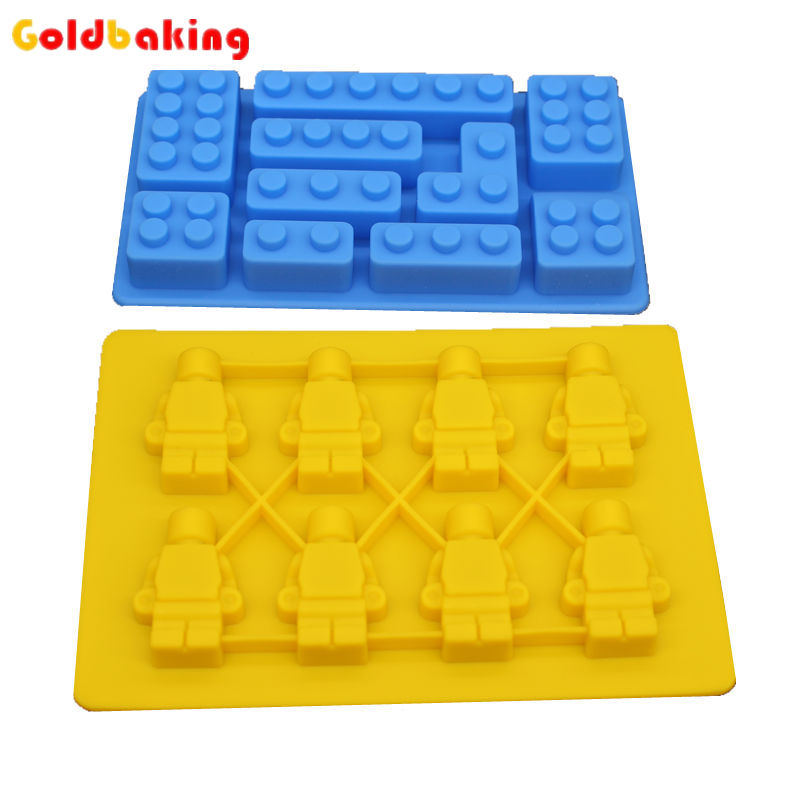 2 Pieces Silicone Lego Minifigure Sweet Candy Tray Bricks Figures Ice Cube Mold Silicon Chocolate Mould - Baking Store store