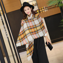 2017 Tartan Plaid Scarf Winter Pashmina Beige Women Cozy Checked Blanket Oversized Wrap Shawl Hijab Acrylic Plaid Blanket Scarf(China (Mainland))