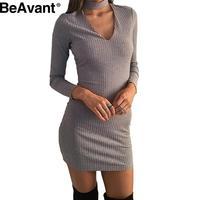BeAvant Autumn winter sexy halter knitted dress Women black elegant bodycon dress Casual short vestidos v neck sweater dresses