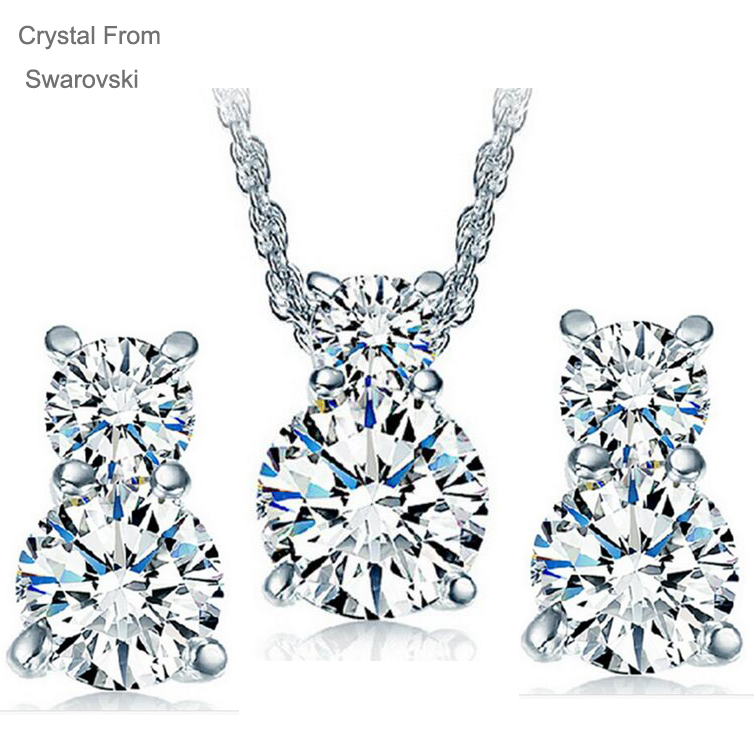 Crystal From Swarovski jewelry Set 18K Gold Plated Bridal Wedding Jewelry Sets of Drop Tears jewellery Sets For Women(China (Mainland))