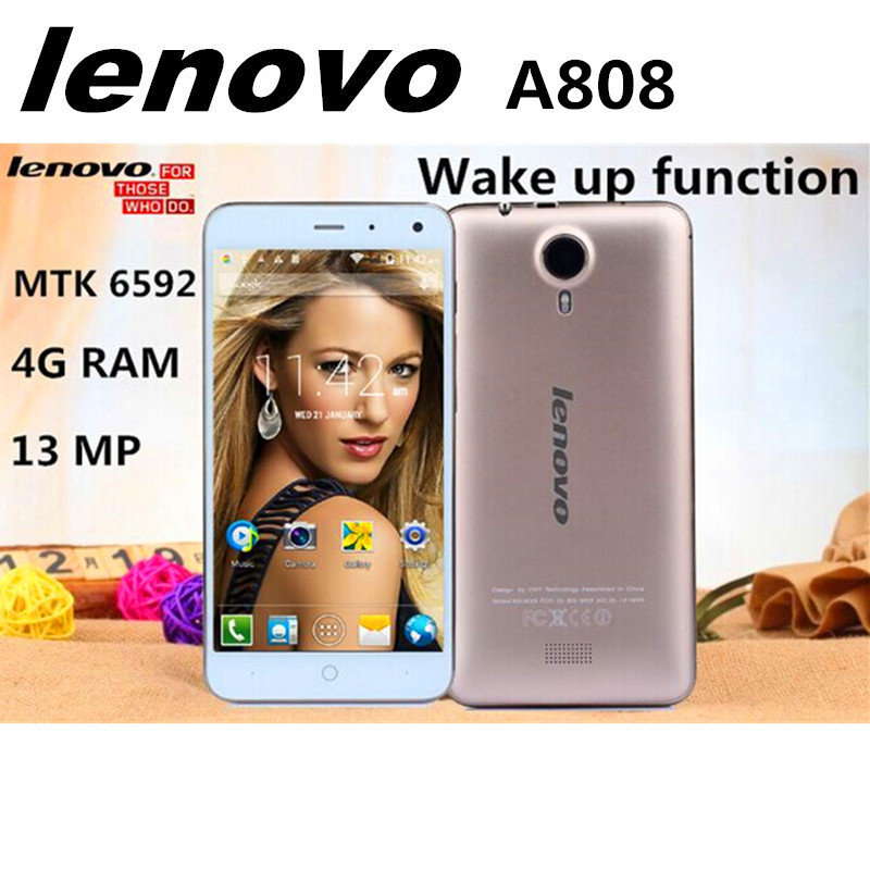 New Arrival Lenovo A808 mobile phone 5.0 inch Octa Core Support 4G LTE RAM4G + ROM16G Android MTK6592 13Mp Camera Smart phone(China (Mainland))