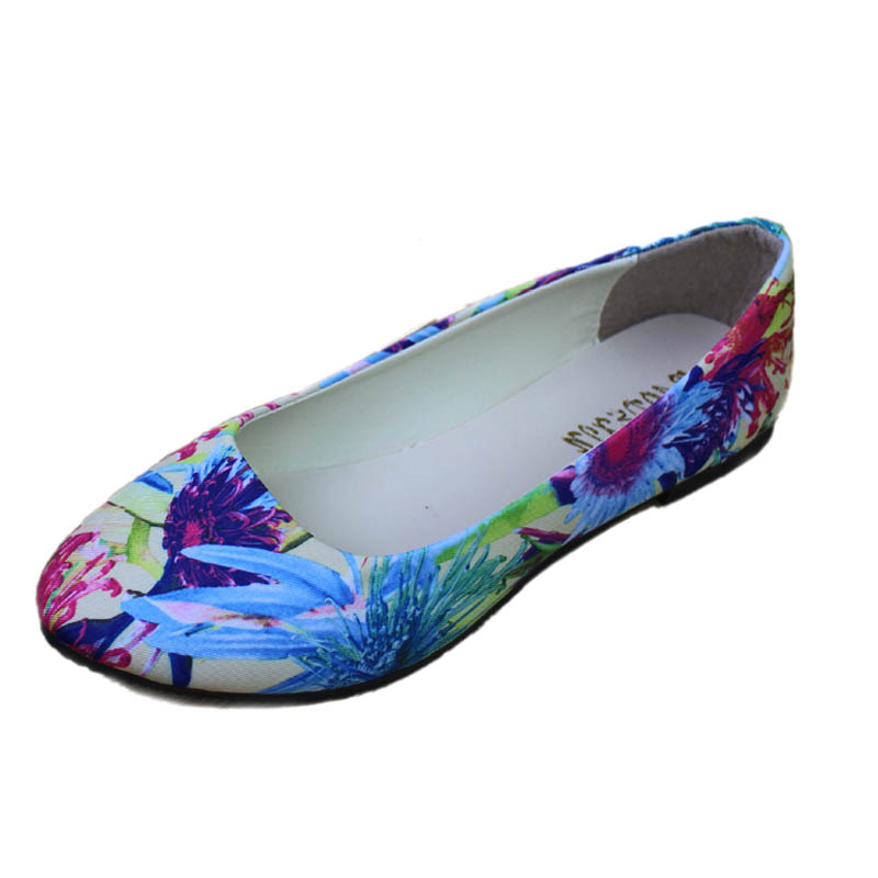 Fashion Floral Print Satin Cloth Flats For Women Shallow Mouth Slip-on Ballet Flats Ladies Casual Flower Flat Shoes Ballerinas(China (Mainland))