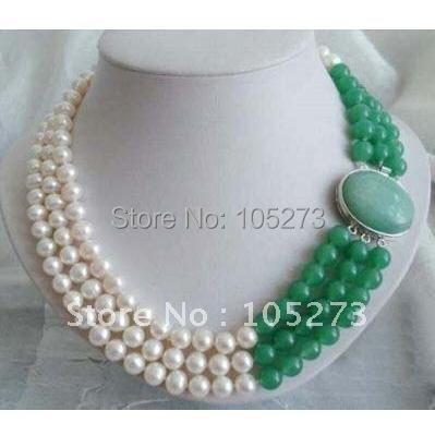 Здесь можно купить  100% Natural AAA 8-9MM White Genuine Freshwater Pearl & Green Jade Necklace 3rows 18