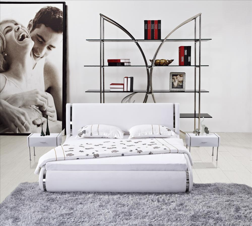 LED Light Bed, made with Top grain Cattle Leahter, Classic White and Curved design bedroom furniture, Frech Beds C02(China (Mainland))