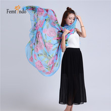Wholesale Ladies Long Silk Chiffon Scarf Rose Flower Flower Infinity Scarf Women Designer Scarf Summer Beach Cover Up 10pcs/lot(China (Mainland))