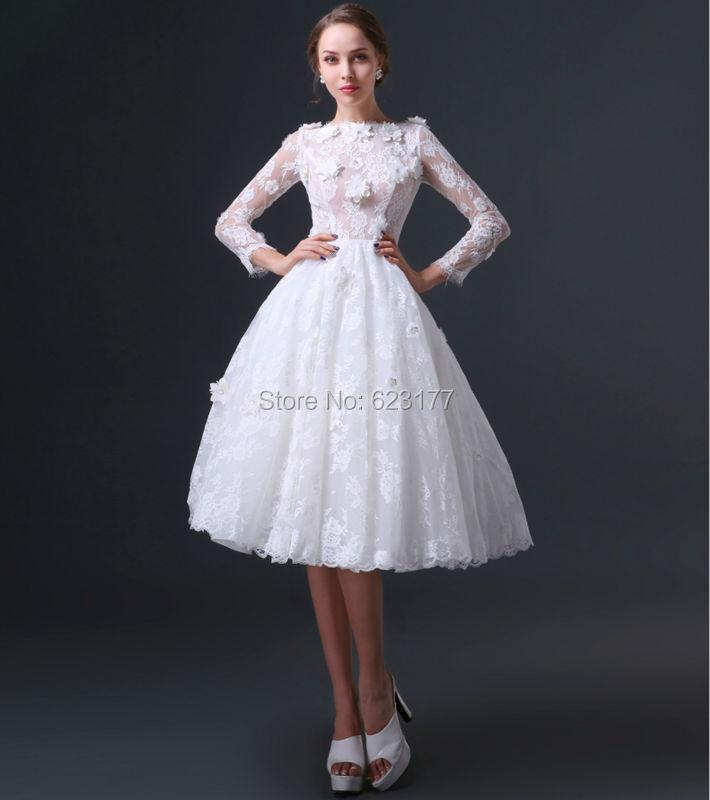 YAYIKU Mid Calf Length A Line Flowers Wedding Dresses 2015 Ivory Color Lace Zipper Bride Dress
