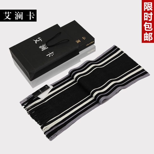 Boys color block decoration the trend stripe scarf lengthen knitted muffler scarf
