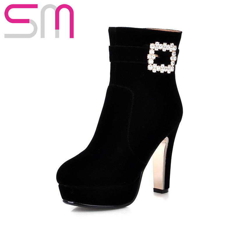 High Quality Sexy Women's Rhinestone Ankle Boots 2015 High Heels Platform Shoes Woman Autumn Winter Boots Party Wedding Shoes