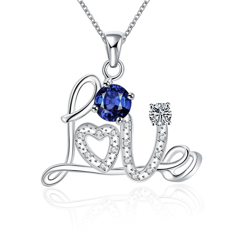 CZ Crystal Choker Necklaces&Pendant Silver Plated Infinity Chain Statement Blue Love Pattern Pendant For Women Wholesale Jewelry(China (Mainland))