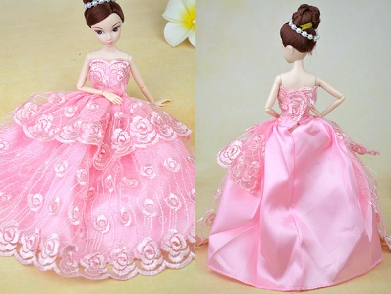 Pink Wedding ceremony Costume For Barbie Dolls Vestido Robe Lengthy Night Costume For 1/6 BJD Doll Garments Woman Birthday Present