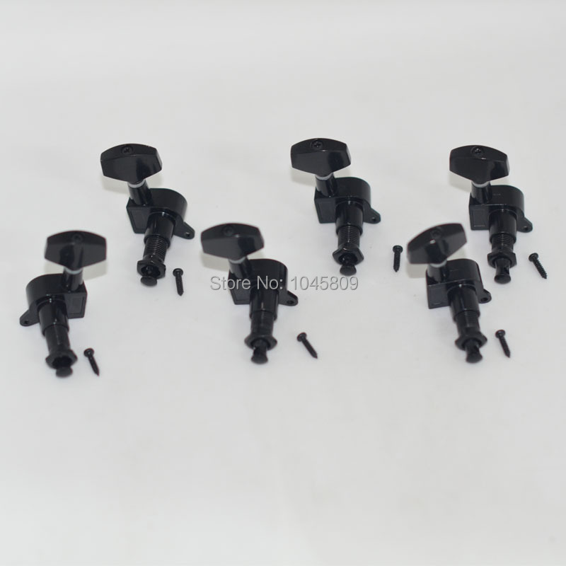 6PCS Black right or left full enclosed electric guitar string buttons/string knobs/string axles/violin knobs/string winders(China (Mainland))