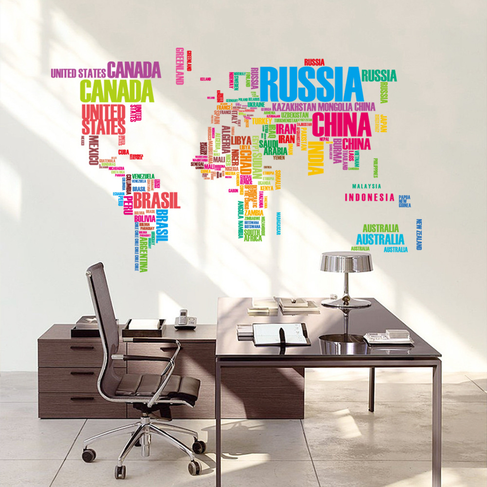 ZY035 new best selling color background of letters kids room sofa world map wall sticker(China (Mainland))