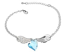 Blue Crystal Heart Wing Bracelet Bangle For Women Made With Swarovski Elements Brand Jewelry For Women Gifts Pulseiras Femininas(China (Mainland))