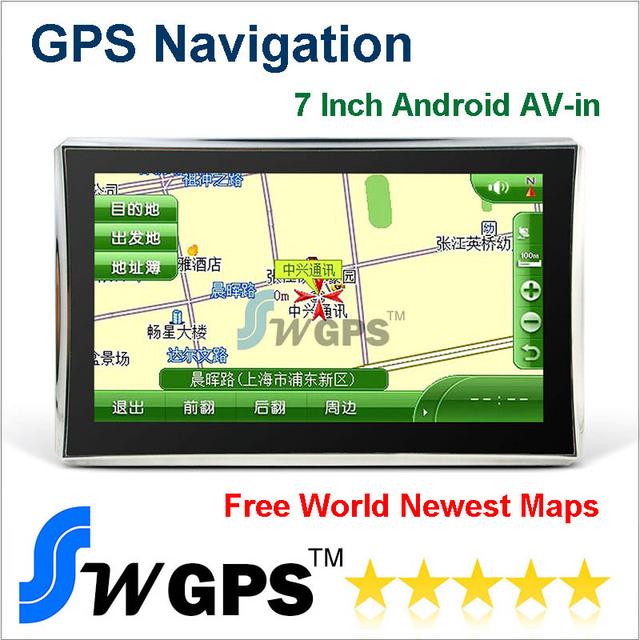 7 inch Car GPS Navigation MID 1.2GHZ Allwinner A13 512SDRAM 8G Support Wifi FMT AV-in Android4.0 free maps